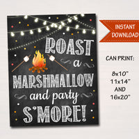 PRINTABLE S'mores Party Sign, Fall Harvest Bonfire Invitation Fall Festival Pumpkin, Wedding Decoration Roast a Marshmallow and Party S'more