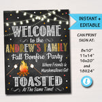 EDITABLE Personalized S'mores Bonfire Party Sign, Fall Harvest Halloween Party, Firepit Friends & Marshmallows get Toasted, INSTANT DOWNLOAD