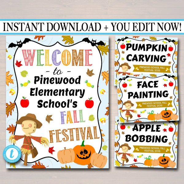 EDITABLE Fall Festival Fall Harvest Flyer/Poster Printable Halloween Signs, Community Carnival Stations, Church School Halloween Party Event