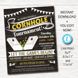 Cornhole Invite Flyer, Printable Business School Church Benefit Fundraiser Event Poster,  Summer Fall Backyard Party