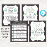 EDITABLE TEMPLATES Farmhouse Themed Counseling Office Decor, Confidentiality Poster, Therapist Where is the Door Sign, What You Say in Here