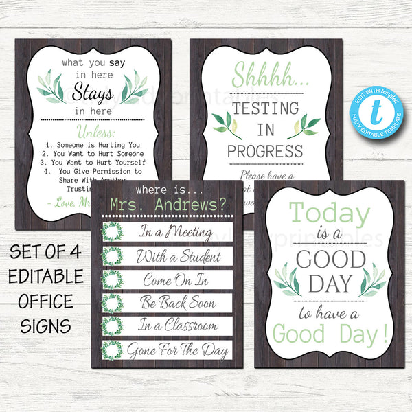 Farmhouse Themed Counseling Office Posters - Editable DIY Templates