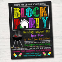 Neighborhood Block Party Invite, Printable Invitation, Bbq Picnic Summer Party, Announcement Card,  Flyer,