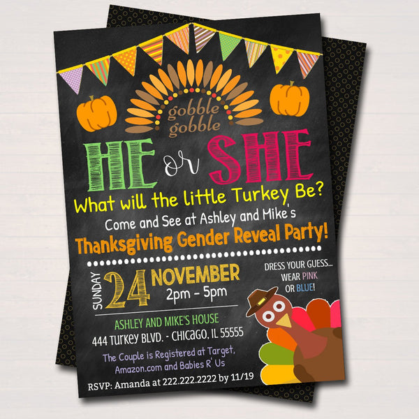 Thanksgiving Gender Reveal Party Invitation Fall Halloween Baby Showe Tidylady Printables