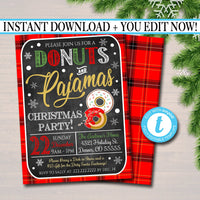 EDITABLE Donuts and Pajamas Xmas Party Invitation, Christmas Party Invite, Holiday Brunch Party Digital Plaid Invitation, INSTANT DOWNLOAD