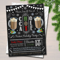 Hot Chocolate Xmas Party Invitation Christmas Party Invite, Holiday Hot Cocoa Party  Chalkboard Invitation,