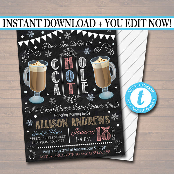 EDITABLE Winter Hot Chocolate Party Invitation Baby Shower Party Invite, Holiday Hot Cocoa Digital Chalkboard Invitation, INSTANT DOWNLOAD