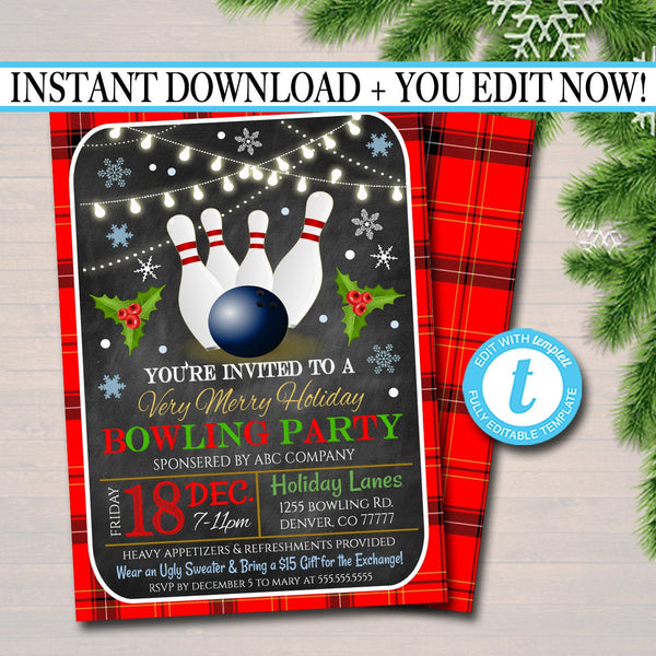 Holiday Bowling Party Invitation, Christmas Invitation, DIY  Invite, Xmas Company Party Invitation Flannel Plaid Retro Party