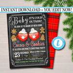 EDITABLE Hot Cocoa & Cookies Xmas Party Invitation Adult Christmas Baby Shower Invite Holiday Cookie Exchange Digital Plaid INSTANT DOWNLOAD