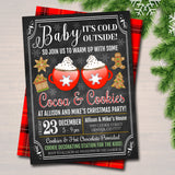 Hot Cocoa & Cookies Xmas Party Invitation Adult Christmas Baby Shower Invite Holiday Cookie Exchange  Plaid