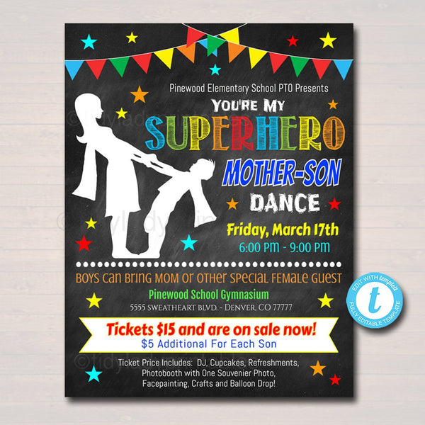 Mother Son School Dance Printable Flyer,  Template, Pto Pta Invitation, School Church Fundraiser Event Superhero