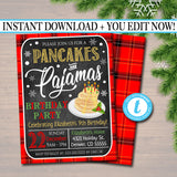 EDITABLE Pancakes and Pajamas Xmas Birthday Party Invitation, Christmas Invite, Holiday Brunch Sleepover Plaid Invitation, INSTANT DOWNLOAD