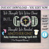Religious Pregnancy Announcement, Printable Chalkboard Poster, Surprise Baby Reveal, Thought We Were Done God Thought We Needed Another One