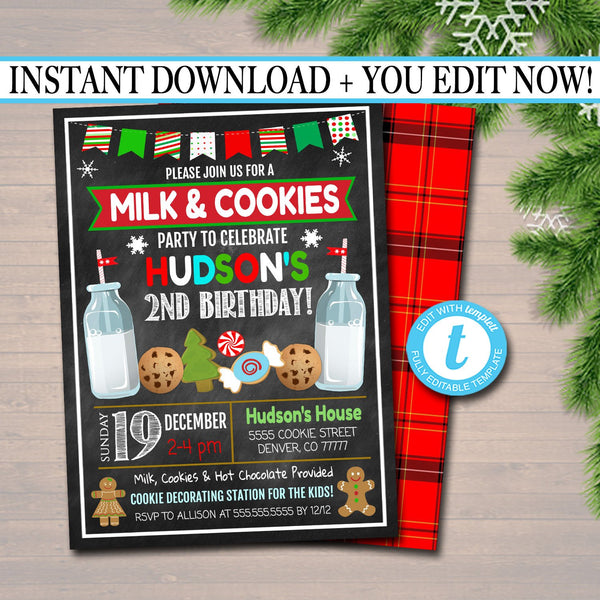 EDITABLE Milk & Cookies Xmas Birthday Party Invitation Kids Birthday Party Invite Holiday Milk and Cookies Party, Digital INSTANT DOWNLOAD