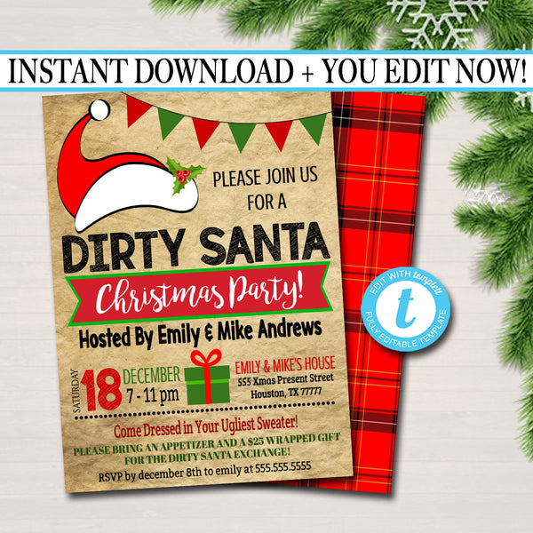 Dirty Santa Exchange Party Invitation, Bridal Shower Invite, Teacher Party Holiday Invite, Dirta Santa Gift Party