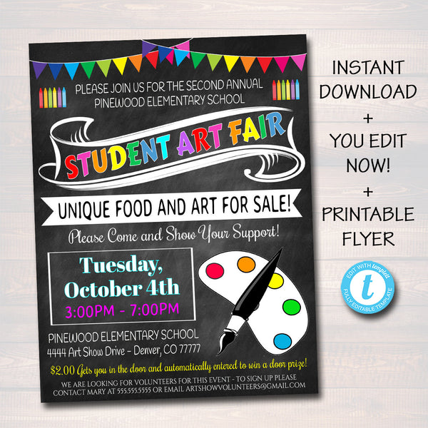 EDITABLE Art Fair Flyer, Printable School Academic Festival Flyer, Fundraiser Creative Art School Event, Printable pta pto INSTANT DOWNLOAD