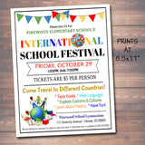 EDITABLE International School Festival, Printable PTA PTO Flyer, School Church Benefit Fundraiser Event Poster, Digital Printable Invitation
