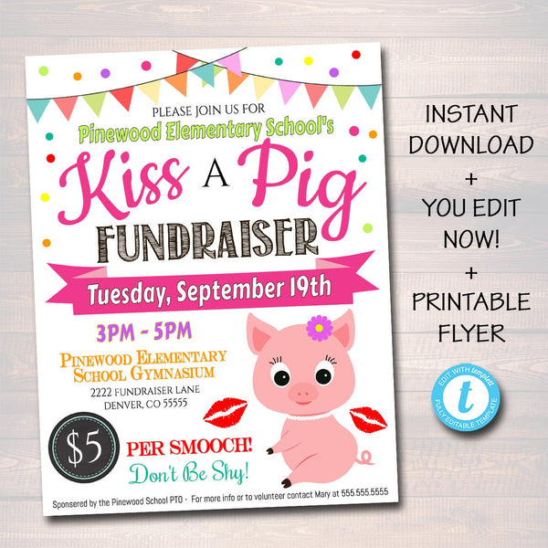 EDITABLE Kiss A Pig Fundraiser Flyer, Printable Handout, School Fundraiser Event, Church, Nonprofit PTO PTA Event, Instant Download Template