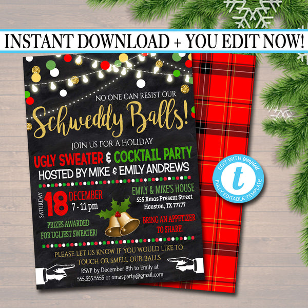 Funny Christmas Party Invitation, Schweddy Balls Dirty Santa Party Holiday Invite, Ugly Sweater Hipster Gift Party