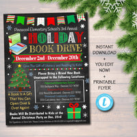 Holiday Book Drive Flyer, Printable PTA PTO Flyer School Church Xmas Fundraiser Poster Christmas Invite, Pto Pta Charity Invitation