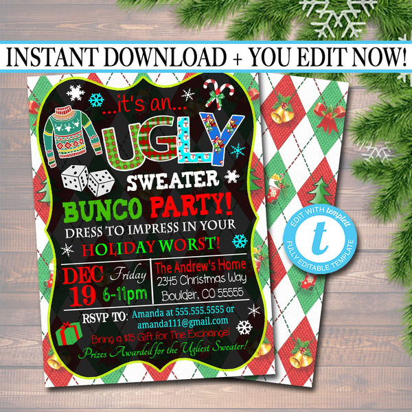 Ugly Sweater Bunco Party Invitation, Christmas Party Invitation, Holiday Worst Invite Adult Xmas Party, Holiday Ugly Sweater Invite