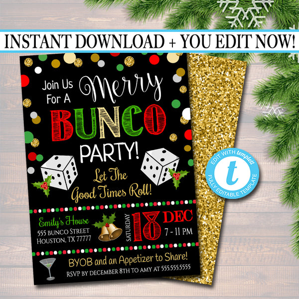 Christmas Bunco Party Invitation, Holiday Merry Bunco Dice Party Invitation, Adult Xmas Cocktail Party, Holiday Printable Invite