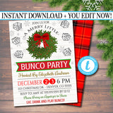 EDITABLE Christmas Bunco Party Invitation, Holiday Merry Bunco Dice Party Invitation, Adult Xmas Cocktail Party, Holiday Printable Invite