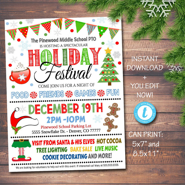 Holiday Festival Christmas Flyer/Poster Printable Christmas Invitation Community Xmas Event Church School Pto Pta Fundraiser Invite