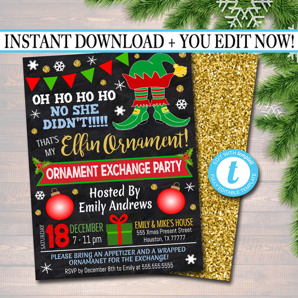EDITABLE Elfin Ornament Exchange Party Invitation Xmas Ladies Invite, Bachelorette Party Holiday Elfed Up Dirta Santa Party INSTANT DOWNLOAD