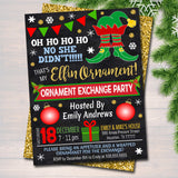 Elfin Ornament Exchange Party Invitation Xmas Ladies Invite, Bachelorette Party Holiday Elfed Up Dirta Santa Party