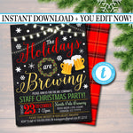 EDITABLE Holiday Brewery Party Invitation, Christmas Invitation, DIY Digital Invite, Xmas Company Party Invitation Flannel Plaid Beer Party