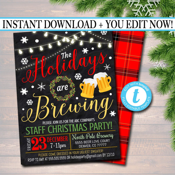 Holiday Brewery Party Invitation, Christmas Invitation, DIY  Invite, Xmas Company Party Invitation Flannel Plaid Beer Party