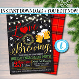 Holiday Brewery Party Invitation, Christmas Invitation, DIY  Invite, Xmas Love is Brewing Party Invitation Flannel Plaid