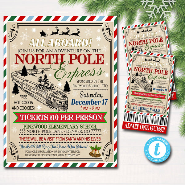 photograph regarding Polar Express Train Ticket Printable titled EDITABLE North Pole Polar Convey Practice Party with Santa Flyer Ticket Invitation, Little ones Xmas Get together, Printable College Church Trip