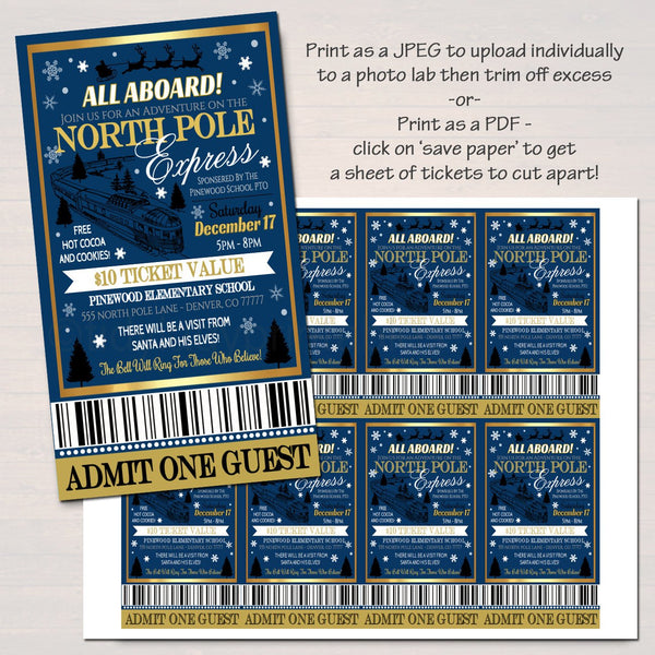 Editable North Pole Polar Express Train Event With Santa Flyer Ticket Invitation Kids Christmas Party Printable School Church Holiday