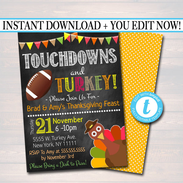 Printable Turkey and Touchdowns Friendsgiving Party Invitation, Thanksgiving Party Invite, Eat Drink & Be Thankful, Digital Football Feast
