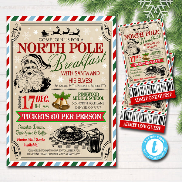Breakfast with Santa Flyer & tickets North Pole Breakfast Invitation, Kids Christmas Party, Printable Community Holiday Event Flyer
