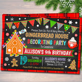 Gingerbread House Decorating Xmas Party, Invitation Kids Christmas Birthday Invite, Holiday Cookie Party Plaid,