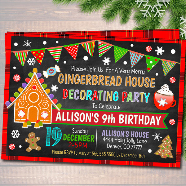 Gingerbread House Decorating Xmas Party Invitation Kids Christmas
