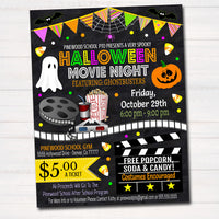 Halloween Movie Night Flyer, Printable PTA PTO Flyer Fall School Church Benefit Fundraiser Event Poster  Cinema Party Invite