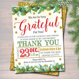 Holiday Appreciation Invitation, Grateful For You Teacher Staff Invitation Printable, Christmas Boss Client Thank You Xmas Template