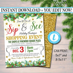 Holiday Shopping Invitation, Boutique Store Invitation Printable, Christmas Xmas Template, Black Friday, Sip and See Holiday Gifts