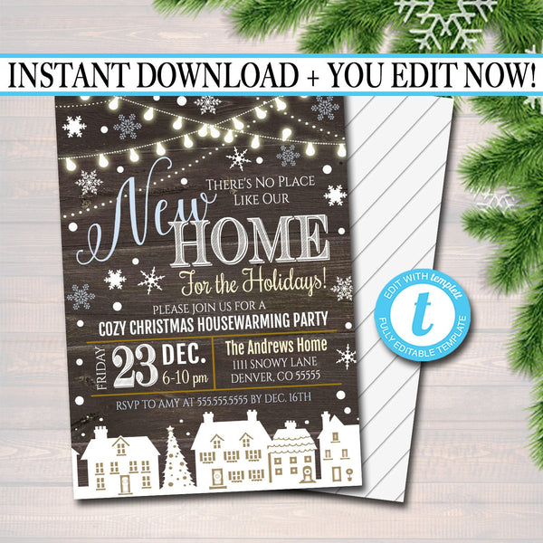 EDITABLE Holiday Housewarming Xmas Invitation, Christmas Party Invite, Holiday Cocktail Party Digital Plaid Invitation, INSTANT DOWNLOAD