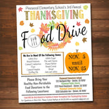 EDITABLE Fall Food Drive Flyer, Printable PTA PTO Flyer, School Church, Thanksgiving Fundraiser Poster Invite, Business Charity Invitation