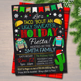 EDITABLE Ugly Sweater Fiesta Margarita and Mistletoe Invitation Christmas Party Invite Adult Holiday Taco Bout a Holiday Party Feliz Navidad