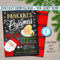Pancakes and Pajamas Xmas Party Invitation, Christmas Party Invite, Holiday Brunch Party  Plaid Invitation,