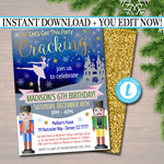 Nutcracker Xmas Party Invitation Kids Christmas Girls Birthday Party Invite, Let's Get This Party Cracking Invite