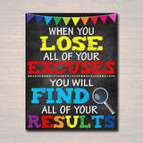 Counselor Office Decor, Classroom Decor, High School Classroom Poster Lose Excuses Find Results Motivational Teen Psychologist, Principal