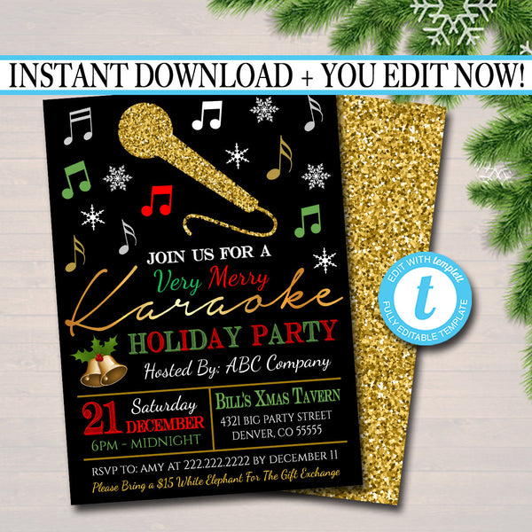 Holiday Karaoke Party Invitation, Christmas Invitation, DIY  Invite, Xmas Company Party Invitation, Karaoke Singing Party