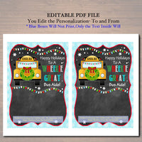 EDITABLE Christmas Bus Aide Gift Card Holder, Printable Holiday Gift Xmas Gift Card, Wheelie Great School Bus Driver, INSTANT DOWNLOAD
